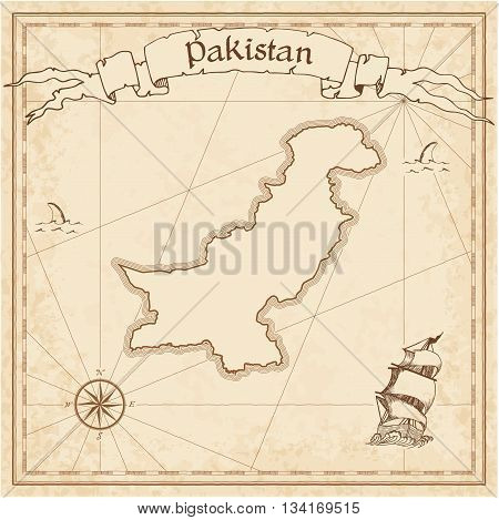 Pakistan Old Treasure Map. Sepia Engraved Template Of Pirate Map. Stylized Pirate Map On Vintage Pap