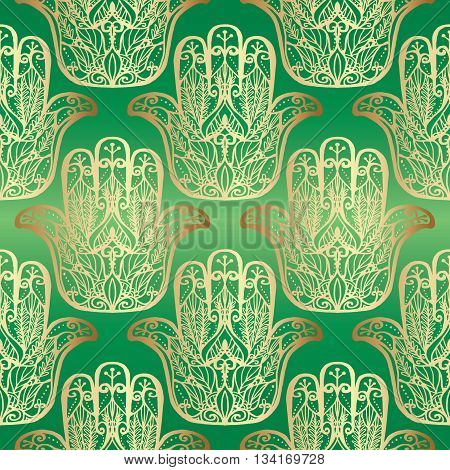 Green seamless pattern with golden Hamsa hand, Hand of Fatima. Magic amulet, symbol of protection from devil eye