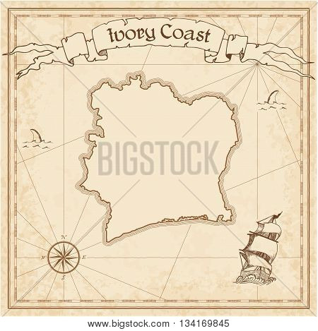 Cote D'ivoire Old Treasure Map. Sepia Engraved Template Of Pirate Map. Stylized Pirate Map On Vintag