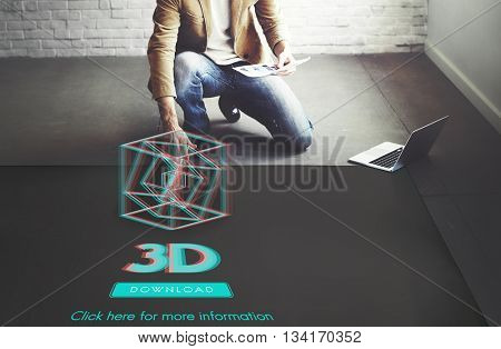 3D Creativity Illusion Graphic Futuristic Concept