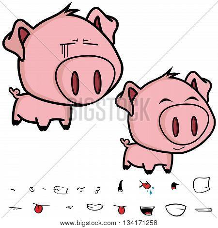 cute little big head pig cartoon sticker card in vector format