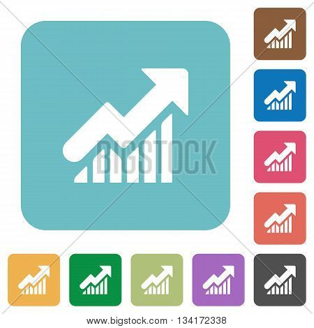 Flat rising graph icons on rounded square color backgrounds.