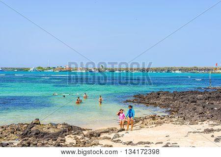 Beach In Puerto Ayora On Santa Cruz Island