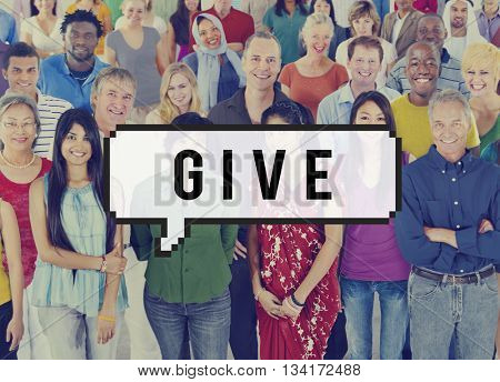 Diversity Group of People Donate Give Concept