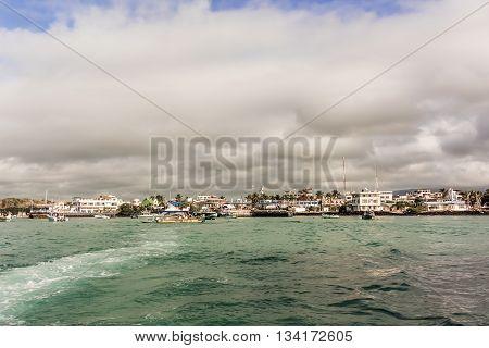 Boats And The Bay At Puerto Ayora On Santa Cruz Island In Galapagos