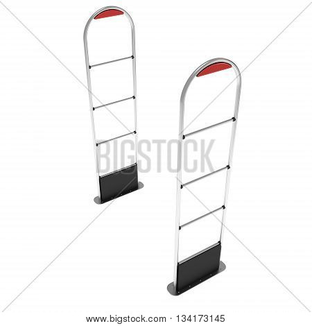3D shoplifter scanner isolated on white background. Scanner entrance gate for prevent theft in shop or store. Security concept.