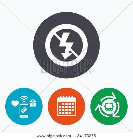 No Photo flash sign icon. Lightning symbol. Mobile payments, calendar and wifi icons. Bus shuttle.