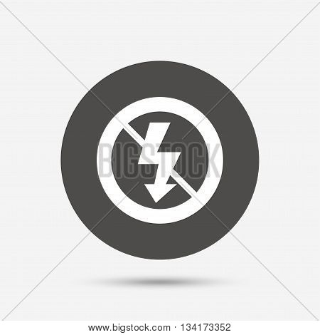 No Photo flash sign icon. Lightning symbol. Gray circle button with icon. Vector