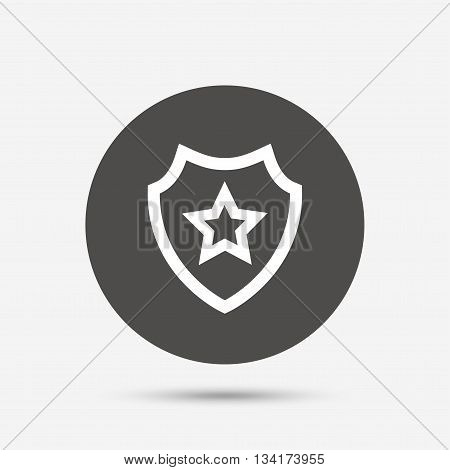 Shield with star icon. Favorite protection symbol. Gray circle button with icon. Vector