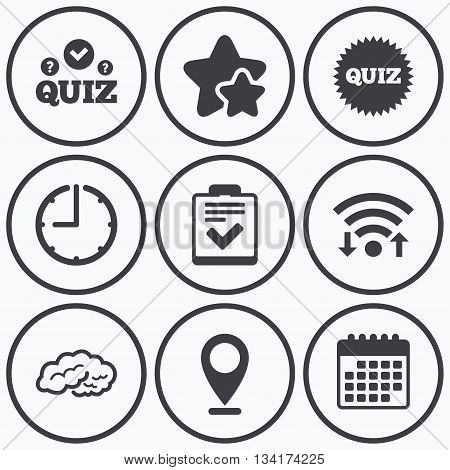 Clock, wifi and stars icons. Quiz icons. Human brain think. Checklist symbol. Survey poll or questionnaire feedback form. Questions and answers game sign. Calendar symbol.