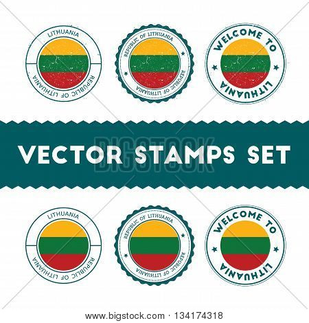 Lithuanian Flag Rubber Stamps Set. National Flags Grunge Stamps. Country Round Badges Collection.