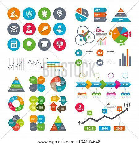 Wifi, calendar and web icons. Real estate, auction icons. Handshake, for sale and calculator signs. Key, tree and award medal symbols. Diagram charts design.