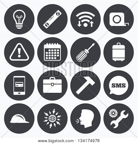 Wifi, calendar and mobile payments. Repair, construction icons. Engineering, helmet and screwdriver signs. Lamp, electricity and attention symbols. Sms speech bubble, go to web symbols.