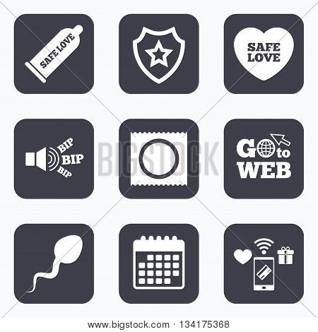 Mobile payments, wifi and calendar icons. Safe sex love icons. Condom and package symbol. Sperm sign. Fertilization or insemination. Go to web symbol.