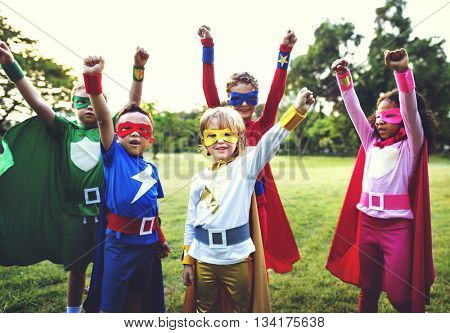 Superheroes Kids Aspiration Cheerful Strength Concept