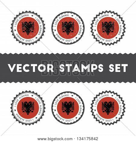 I Love Albania Vector Stamps Set. Retro Patriotic Country Flag Badges. National Flags Vintage Round