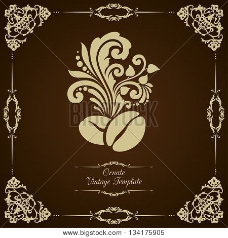 Vintage vector template with classic ornament and coffee beans