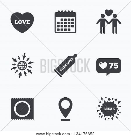 Calendar, like counter and go to web icons. Condom safe sex icons. Lovers Gay couple signs. Male love male. Heart symbol. Location pointer.