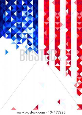 Us flag polygon card