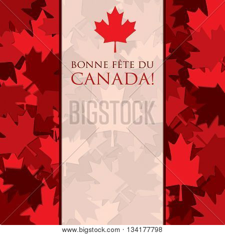 Scatter Canada Day maple leaf card in vector format. Translation: 'Happy Canada Day