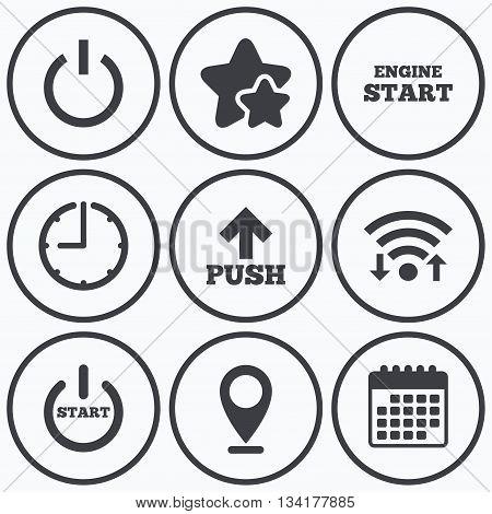 Clock, wifi and stars icons. Power icons. Start engine symbol. Push or Press arrow sign. Calendar symbol.
