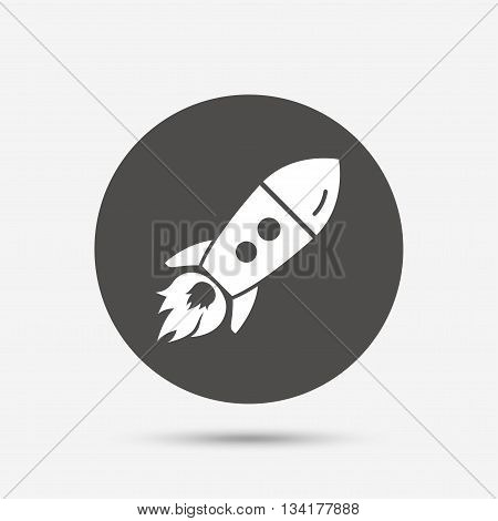 Start up icon. Startup business rocket sign. Gray circle button with icon. Vector