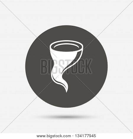 Storm sign icon. Gale hurricane symbol. Destruction and disaster from wind. Insurance symbol. Gray circle button with icon. Vector