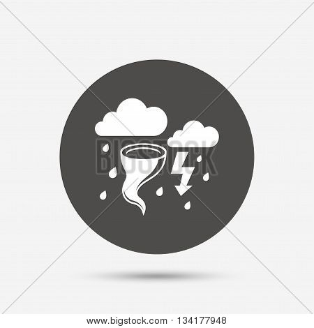 Storm bad weather sign icon. Clouds with thunderstorm. Gale hurricane symbol. Destruction and disaster from wind. Insurance symbol. Gray circle button with icon. Vector