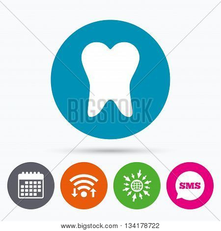 Wifi, Sms and calendar icons. Tooth sign icon. Dental care symbol. Go to web globe.