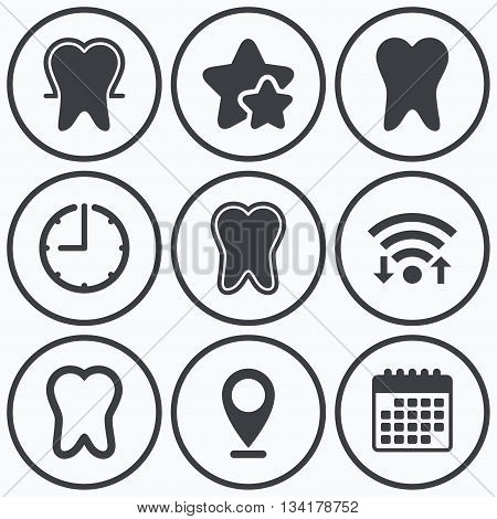 Clock, wifi and stars icons. Tooth enamel protection icons. Dental toothpaste care signs. Healthy teeth sign. Calendar symbol.