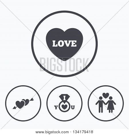 Valentine day love icons. I love you ring symbol. Couple lovers sign. Icons in circles.