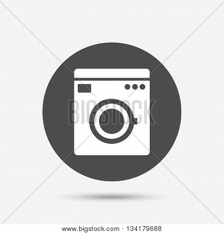 Washing machine icon. Home appliances symbol. Gray circle button with icon. Vector