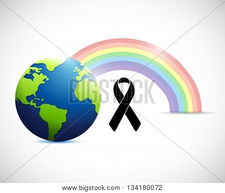 Black Ribbon Rainbow Flag And Planet.