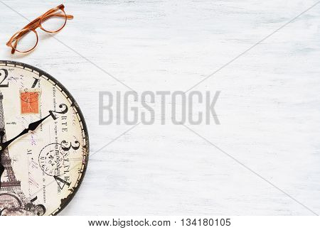 Vintage Travel Background. Old Clock On Wooden Table.
