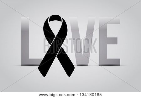 Black Ribbon Love Text Sign. Illustration