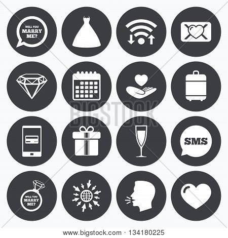 Wifi, calendar and mobile payments. Wedding, engagement icons. Love oath letter, gift box and brilliant signs. Dress, heart and champagne glass symbols. Sms speech bubble, go to web symbols.