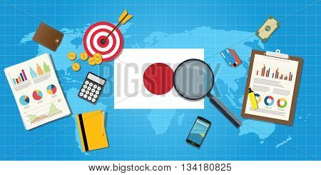 japan economy economic condition country with graph chart and finance tools vector graphic illustration