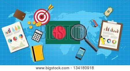 bangladesh economy economic condition country with graph chart and finance tools vector graphic illustration