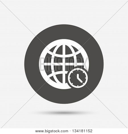 World time sign icon. Universal time globe symbol. Gray circle button with icon. Vector
