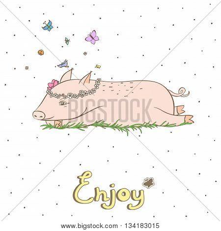 Simple graphic object - a debonair pig 1