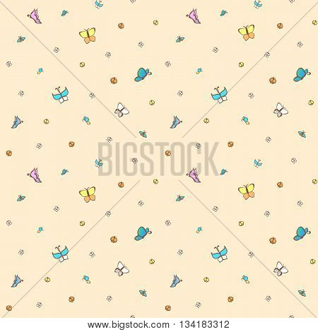 Multicolored butterflies on pale pink background. Seamless pattern.