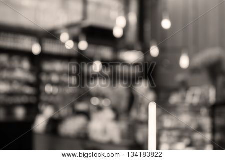 Coffee shop blurred background with sepia filter, stock photo