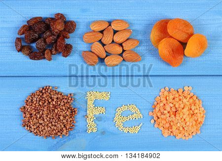 Products And Ingredients Containing Ferrum And Dietary Fiber, Healthy Food