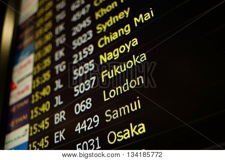 Flight board background of Sydney Chiang Mai Nagoya Fukuoka London Samui Osaka