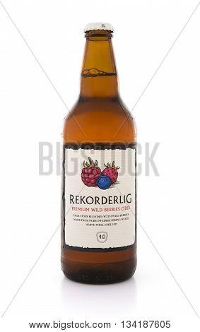 SWINDON UK - JUNE 3 2016: Bottle of Rekorder Premium Wild Berries Pear Cider