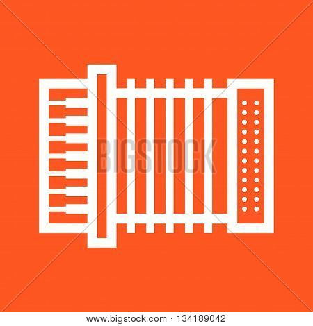 Accordion, red, music icon vector image. Can also be used for music. Suitable for web apps, mobile apps and print media.