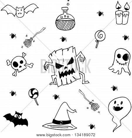 Element halloween in doodle stock vector art