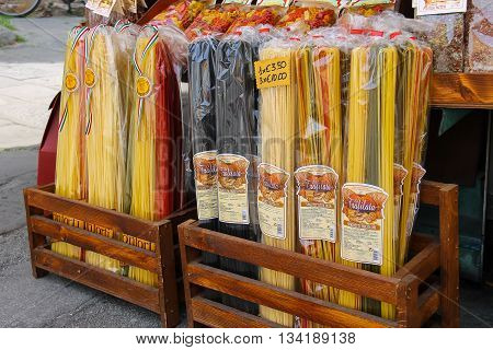 Pisa Italy - June 29 2015: Sale of national Italian pasta at the street souvenirs shop. Province Pisa Tuscany region of Italy