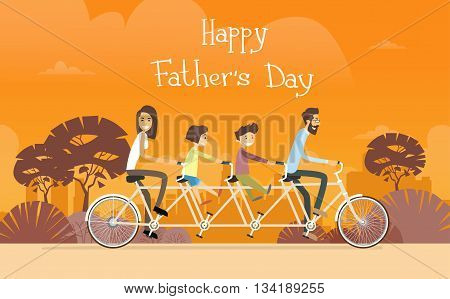 Father Day Holiday, Family Ride Tandem Bicycle Flat Vector Illustration