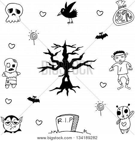 Halloween ghost zombie stock doodle vector illustration